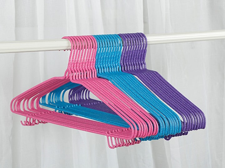 plastic-coated clothes hangers